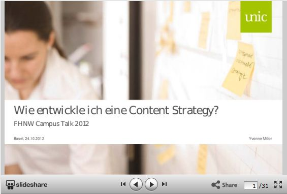 Keynote am CampusTalk FHNW: Content Strategy, Yvonne Miller, Unic AG